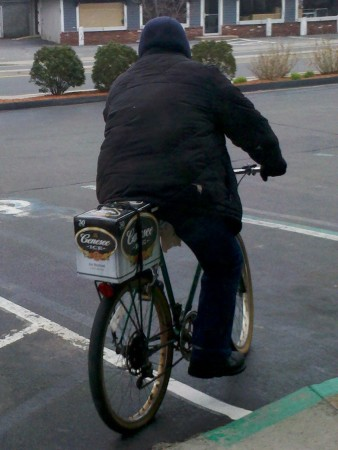 While shopping at my favorite store recently I came across this guy leaving. Nothing says Cape Cod in the winter like a bike, 30 pack of beer and nothing to do in the middle of the day but drink! Amen