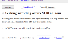 Cape Cod Craigslist Ad Of The Day - Wrestlers Wanted