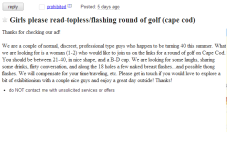 Cape Cod Craigslist Ad Of The Day - Seeking Girls For Topless/Flashing Round Of Golf