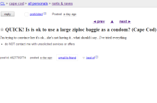 Cape Cod Craigslist Ad Of The Day - Is It OK To Use A Ziploc Bag As A Condom?