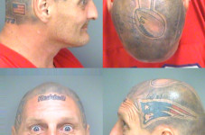 Dude With Brady's Helmet Tattooed On His Head Arrested With Fake Marijuana