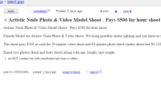 Cape Cod Craigslist Ad Of The Day - Nude Video Model $500 per hour
