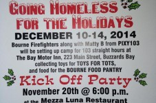 Bourne Firefighters Homeless For The Holidays Kickoff Party Is Tonight