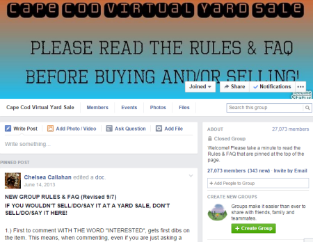 cape cod virtual yard sale facebook