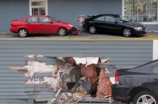 Dude Guy Crashes His Volvo Through The Wall At Hyannis McDonald's