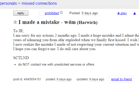 Cape Cod Missed Connection Craigslist Ad Of The Day - I Made