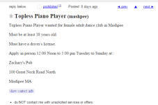 Cape Cod Craigslist Ad Of The Day - Zachary's Is Looking For A Topless Piano Player